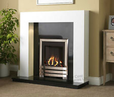 GAS WHITE SURROUND BLACK STONE GRANITE CHROME FLAME FIRE FIREPLACE SUITE