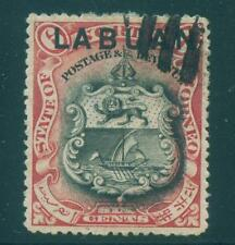 [JSC]1896 BRITISH EMPIRE LABUAN COAT OF ARMS RED Color