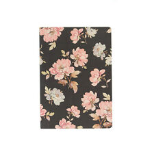 Sass and Belle A5 sized Notebook - Pink and Brown French rose design, Plain pape