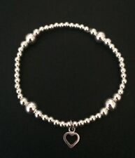 Children's Sterling Silver Stretch Bracelet. Bridesmaid Kids Silver Heart Charm