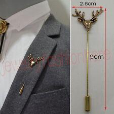Mens Vintage Deer Head Horn Elk Antler Stag Lapel Stick Pin Tie Hat Scarf Brooch