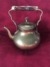 Brass Tea Pot India Wooden Handle Vintage Teapot  Kettle Lid