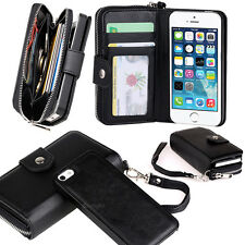 New Black All in One Zip Wallet Leather Case Cover For iPhone 6S 4.7""