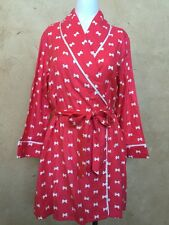 NWT KATE SPADE New York Flannel Short Robe Coral/White Bow Size L/XL