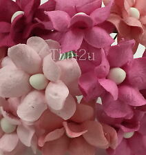 25 Pink Mixed Mulberry Paper Flowers Scrapbooking Wedding Roses Crafts ZS15-00