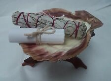 "5"" Lions Paw Shell & Wood Tripod Stand & White Sage Smudge Stick & Directions!"