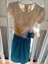 Persnickety Blue Peacock Emma Dress Sz 6 With Accessory Appliqué