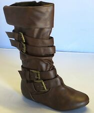 Girl Leather PU Boot Slouchy Knee High Four Buckles (Tamika42) Brown Tan