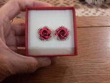 Brand new gold red rose stud earrings and gift box