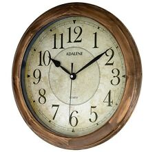 Vintage Large Wall Clock Kitchen Office Workshop Solid Wood Round Vintage Decor