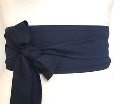 Dark Navy Blue Obi waist kimono kaftan cosplay belt sash ribbon tie Japan style