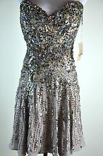 NWT New Mandalay Crystal Rhinestone Beading Unique Marble Pink Party Dress Sz 4