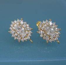 Oval Cubic Zirconia CZ 18K Gold  Plated Ear Stud Earrings Post Earstud Findings.