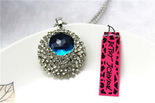 NEW Betsey Johnson Fashion Necklace Crystal Blue Eye Pendant Sweater Chain #38
