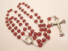 Sterling Silver Beautiful Crystal Red Heart Rosary Bead Necklace Chapel Cross
