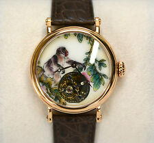 Flying Tourbillon Gold Wristwatch with Hand Painted Enamel Chinese Monkey Zodiac
