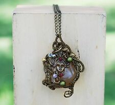 Wire Wrap Mystery Egyptian Lady Natural Brown Agate Necklace Gypsy Bohemian