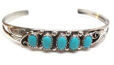Navajo Handmade Turquoise Sterling Silver Cuff Bracelet -Jackie Lincoln