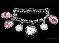NIB JLo by Jennifer Lopez Silvertone Charm Bracelet Ladies Watch FREE SHIP