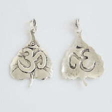 2x Antique Silver Large Leaf OM Yoga Charms Pendant For Necklace Jewelry Making