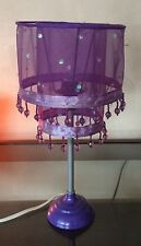 "Purple Fashion Desk Lamp with Beads See through shade 14"" high"