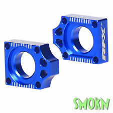 RFX Pro Series CNC Rear Axle Adjuster Blocks Yamaha YZ 125 YZ 250 02-17 Blue