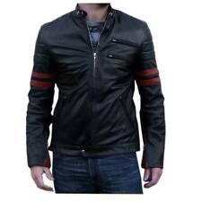 New Men Red patch Leather Biker jacket Italian, Zara Bomber Jacket Coat Designer