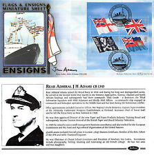 22 OCTOBER 2001 FLAGS & ENSIGNS M/SHEET BENHAM FDC SIGNED REAR ADMIRAL JH ADAMS