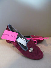 BETSEY JOHNSON WOMENS SLIPPERS WINE RED VELVET LIKE MOCCASINS SIZE LARGE 9 10