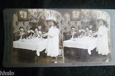 STA956 Scène de genre table repas robe de chambre Photo 1900 STEREO stereoview