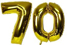"""40"""" Large 70 Gold Number Balloons 70th Birthday Anniversary Foil Float Helium"""