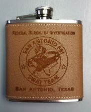 FBI San Antonio, Texas SWAT Team Logo Center Leather Stainless Steel 6oz Flask
