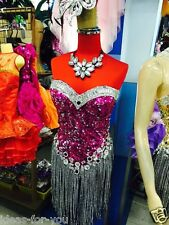Dress Cabaret Showgirl Vegas Costume Feather Gown Vavavoom Dancer Show New Pink