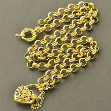 9K Yellow Gold Filled Love Heart WOMENS Chain Necklace,21.7 INCH Arab Fashion