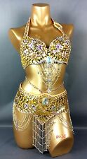 Womens New Belly Dance hip scarf Costumes Bra&Belt Set Indian 14 color S/M/L