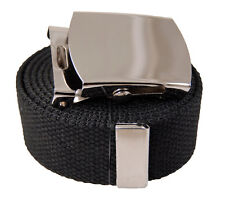 60 inches Initial Canvas Web Military Belt & Buckle Black,White,Gray,Beige