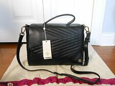 NEW Auth $595 Tory Burch 797 Quilted Leather Satchel Bag Handbag Tote Hobo,Black