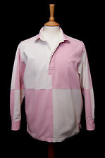 "Crew Clothing long sleeve pink white cotton drill sailing deck shirt S 36"" 92cm"