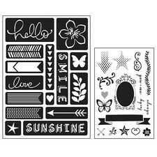 Momenta Art C Mixed Media Adhesive Stencil & Stamp Pack - Words & Icons