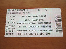 NICK HARPER - THE COCKPIT THEATRE LONDON 14.7.2001 USED CONCERT TICKET