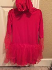 Devil Red Dress Vampire Costume  Youth M (7-8) Tulle Skirt Horns Hood NWT
