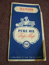 Pure Oil ILLINOIS and the Great Lakes States Highway Map 1940s  Road Map WI MI