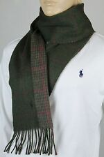POLO RALPH LAUREN GREEN PURPLE WOOL SCARF BROWN PONY NWT