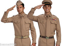 Mens Armed Forces Army WW2 American GI U.S Soldier 40s 1950s Fancy Dress Costume