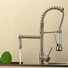 Promotion Spring Brushed Nickel Kitchen Faucet Double Sprayer Tap Deck Mounted