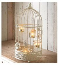 NEW STYLISH LARGE VINTAGE BIRD CAGE LANTERN WITH 4 GLASS TEA LIGHT HOLDERS DECOR