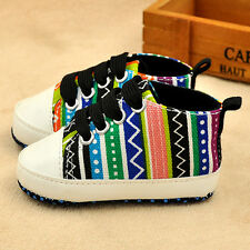 Fashion Rainbow Striped Baby Shoes Casual Soft Walk Prewalkers Canvas Sneakers