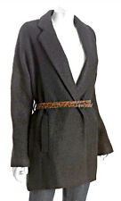 "$398 BCBG BLACK ""ALLESANDRA"" LONG SLEEVE FAUX FUR BELT COAT JACKET TOP NWT S"