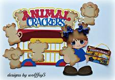 ELITE4U ANIMAL CRACKER KID paper piecing premade scrapbook page die cut WOLFFEY5