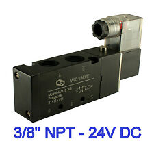 "3/8"" Inch Pneumatic 4 Way Electric Directional Control Solenoid Air Valve 24V DC"